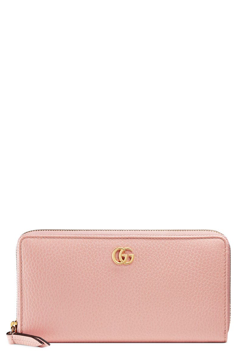GUCCI Petite Leather Zip Around Wallet, Main, color, 650