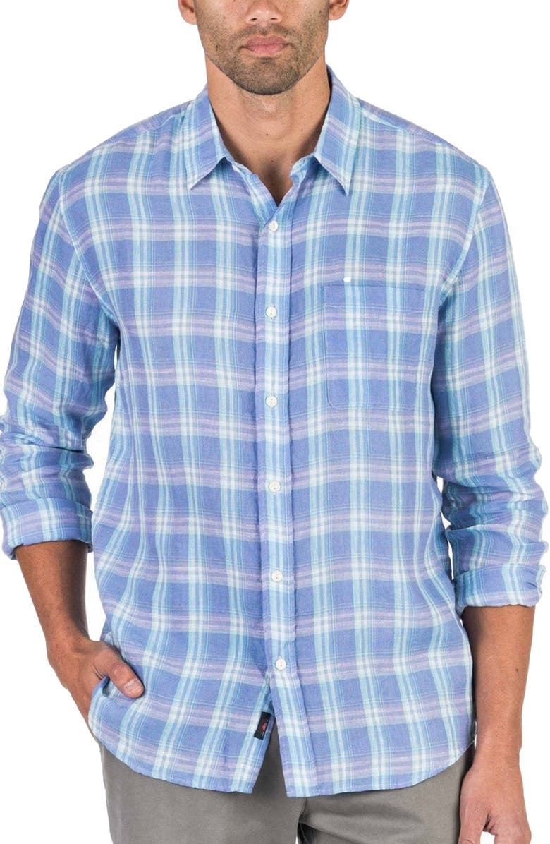 FAHERTY Cloud Summer Blend Plaid Button-Up Shirt, Main, color, 500