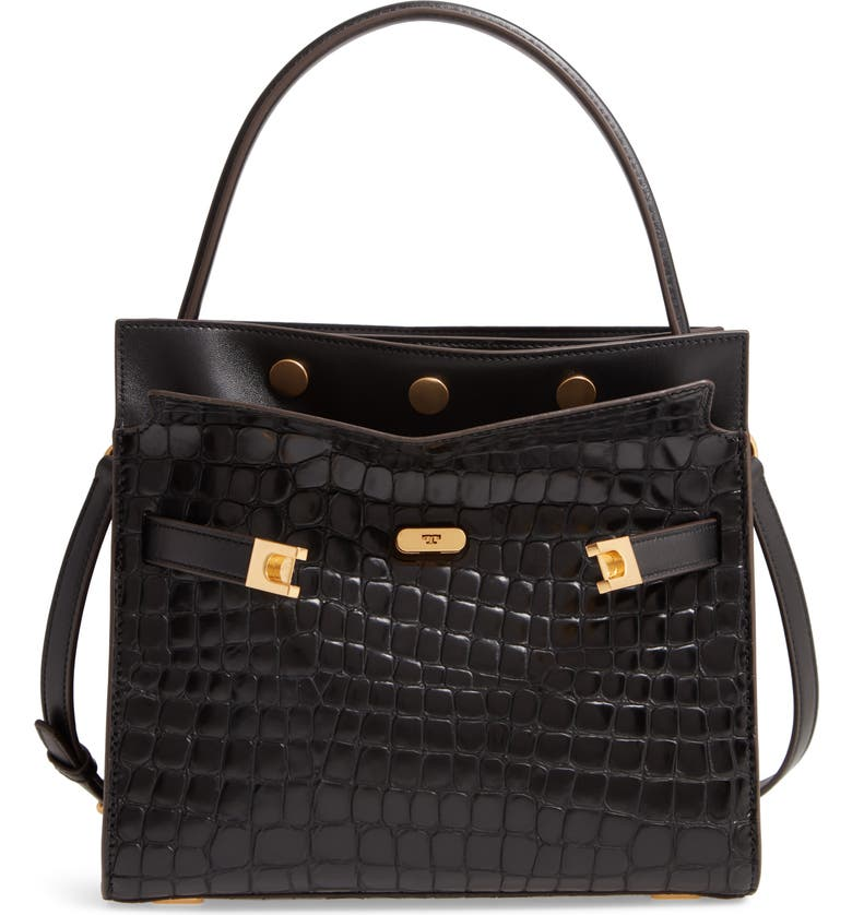 TORY BURCH Small Lee Radziwill Croc Embossed Leather Double Bag, Main, color, 001