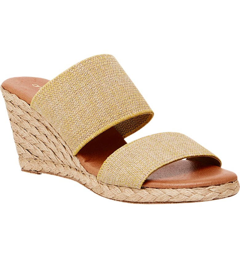 ANDRÉ ASSOUS Amalia Strappy Espadrille Wedge Slide Sandal, Main, color, BEIGE FABRIC