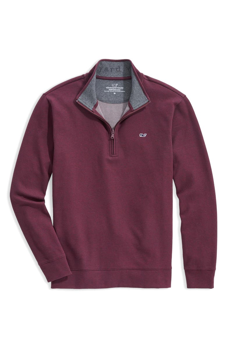 VINEYARD VINES Saltwater Quarter Zip Pullover, Main, color, NANTUCKET WINE