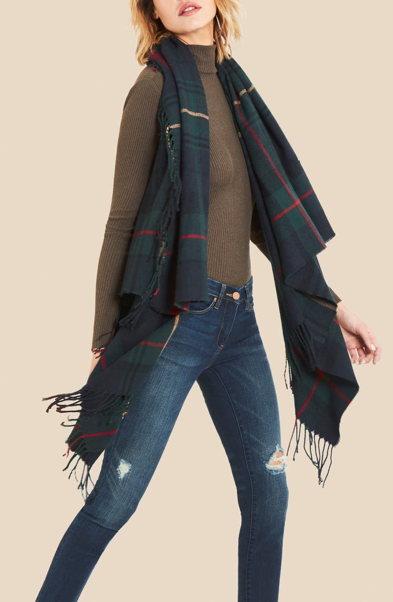 SOLE SOCIETY Fringed Plaid Wrap, Main, color, 001