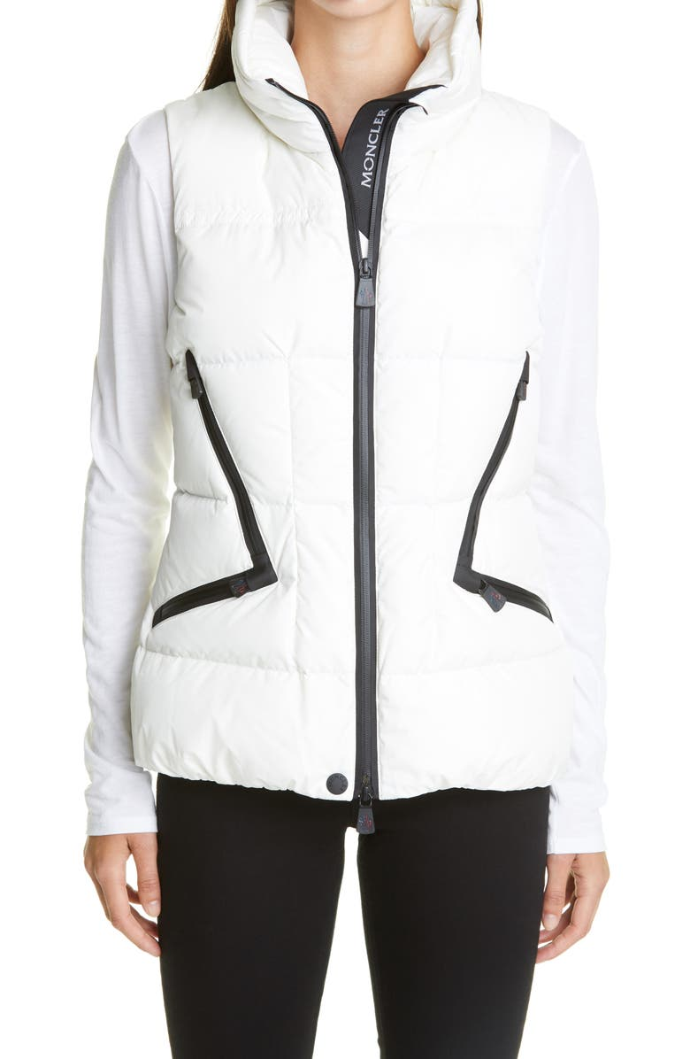 MONCLER GRENOBLE Atka Water Resistant Down Puffer Vest, Main, color, CREAM