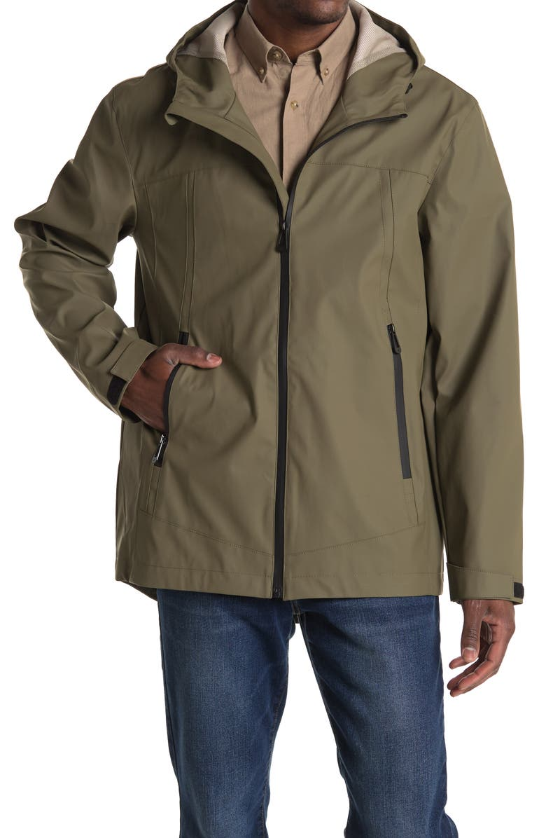 NOIZE Theo Water-Resistant Hooded Jacket, Main, color, MOSS