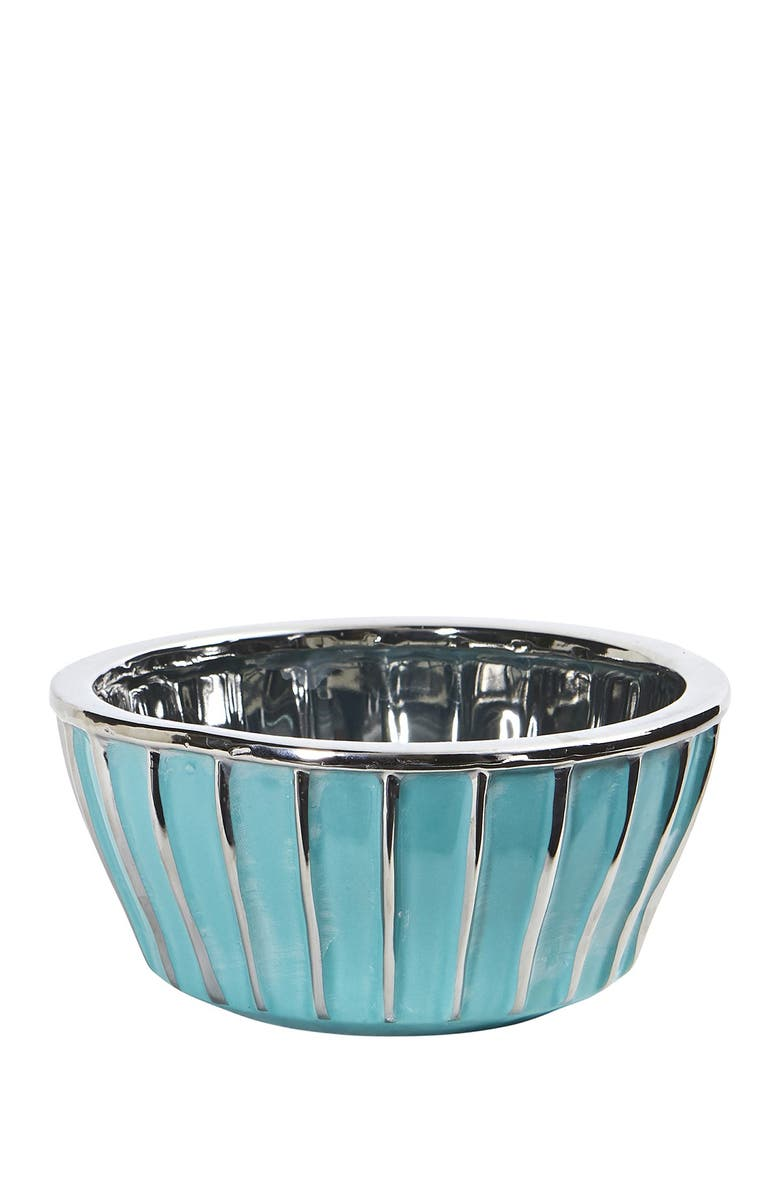 NEARLY NATURAL 7.25in. Teal Vase with Silver Burnishing, Main, color, BLUE