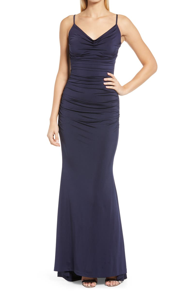 ELIZA J Cowl Neck Ruched Jersey Gown, Main, color, NAVY