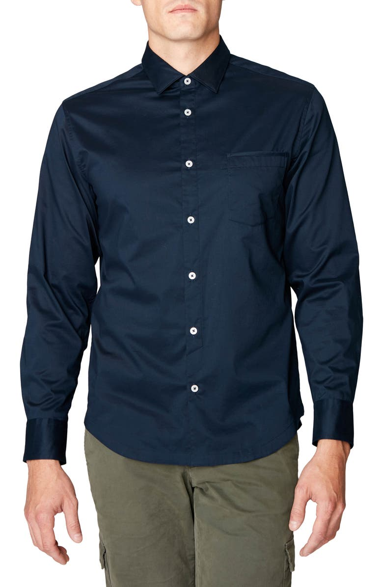 GOOD MAN BRAND On Point Slim Fit Plaid Button-Up Sport Shirt, Main, color, NAVY
