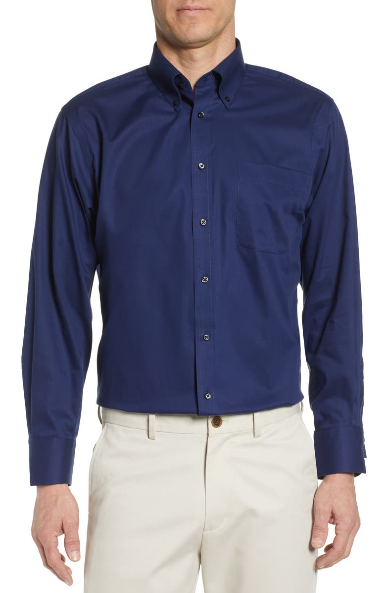 NORDSTROM Classic Fit Non-Iron Dress Shirt, Main, color, NAVY MEDIEVAL