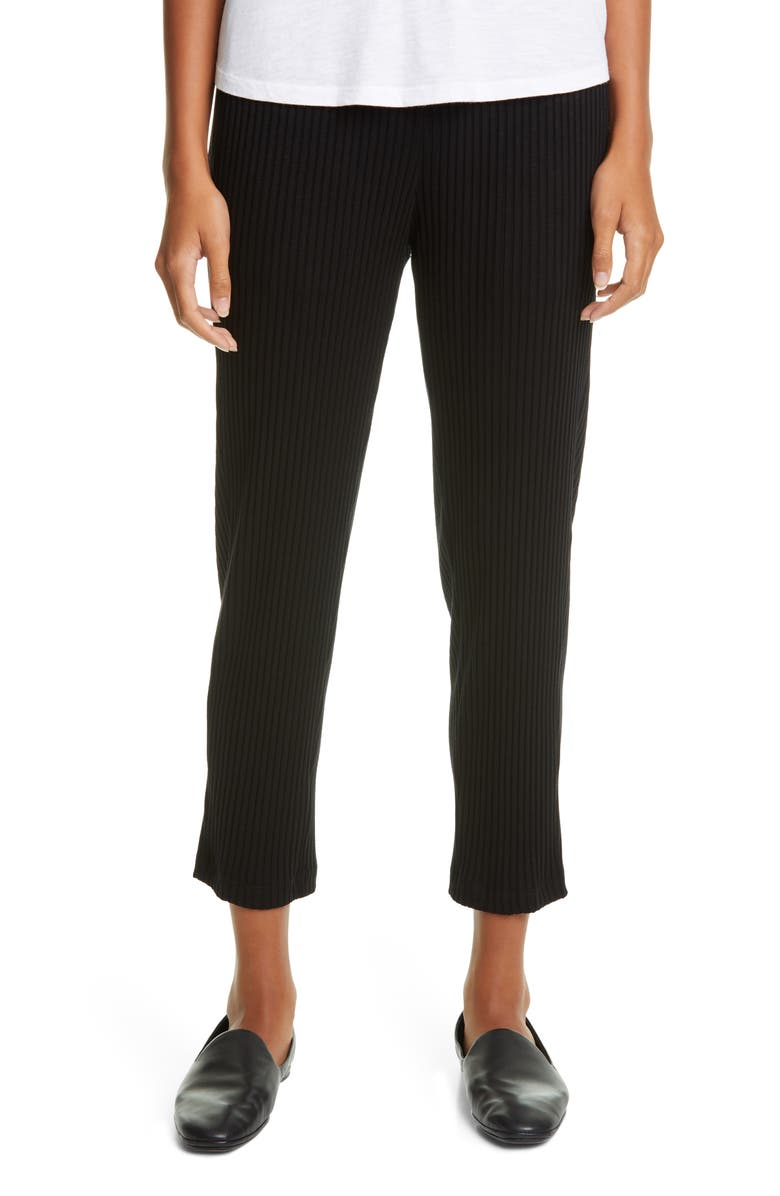 EILEEN FISHER Tapered Rib Ankle Pants, Main, color, BLACK