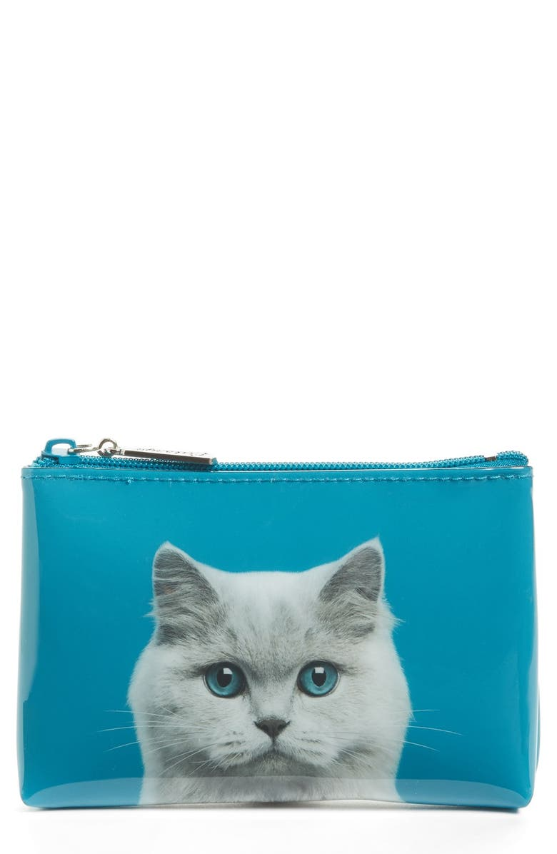 CATSEYE LONDON Small Cat Zip Pouch, Main, color, BLUE EYED CAT