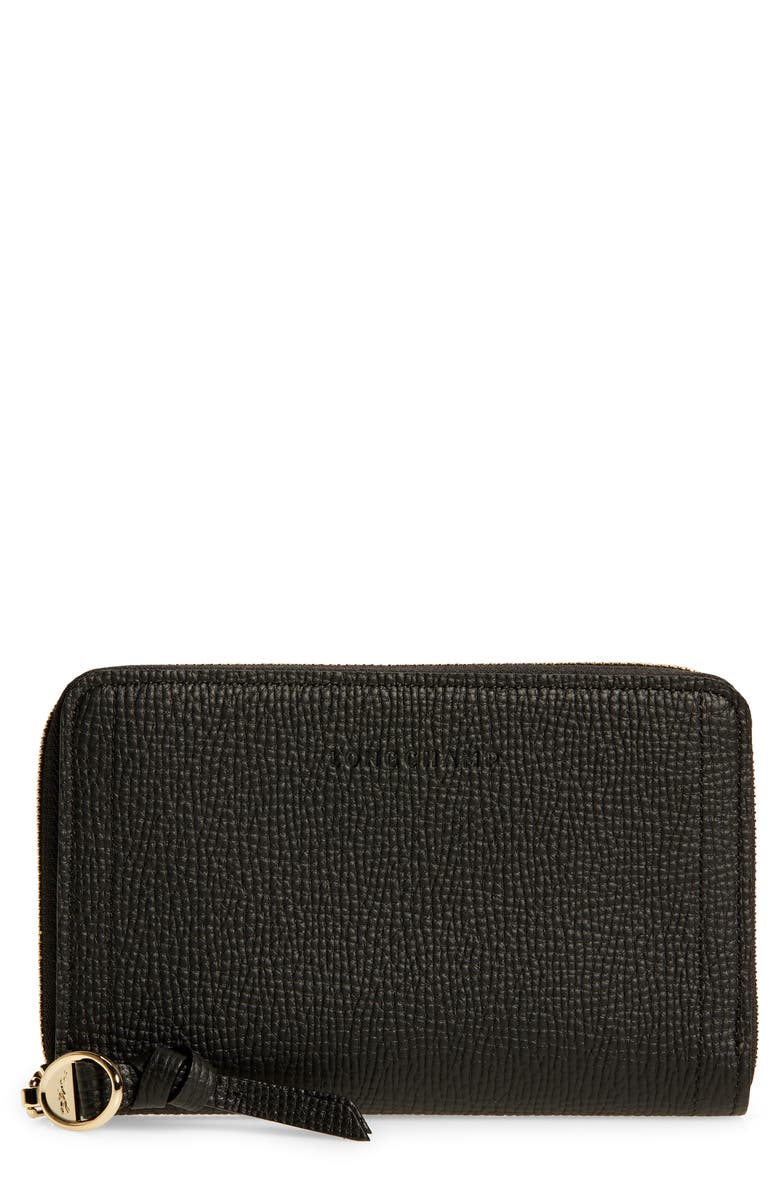 LONGCHAMP Mailbox Compact Leather Wallet, Main, color, 001