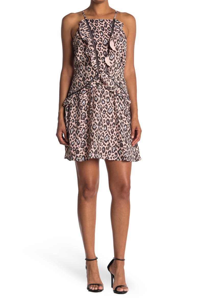 ADELYN RAE Camille Leopard Fit & Flare Dress, Main, color, SHEER PINK