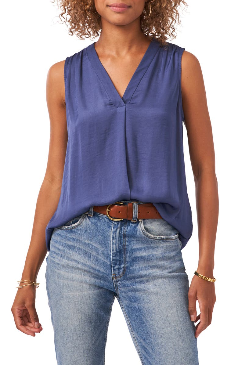 VINCE CAMUTO Rumpled Satin Blouse, Main, color, CLUE