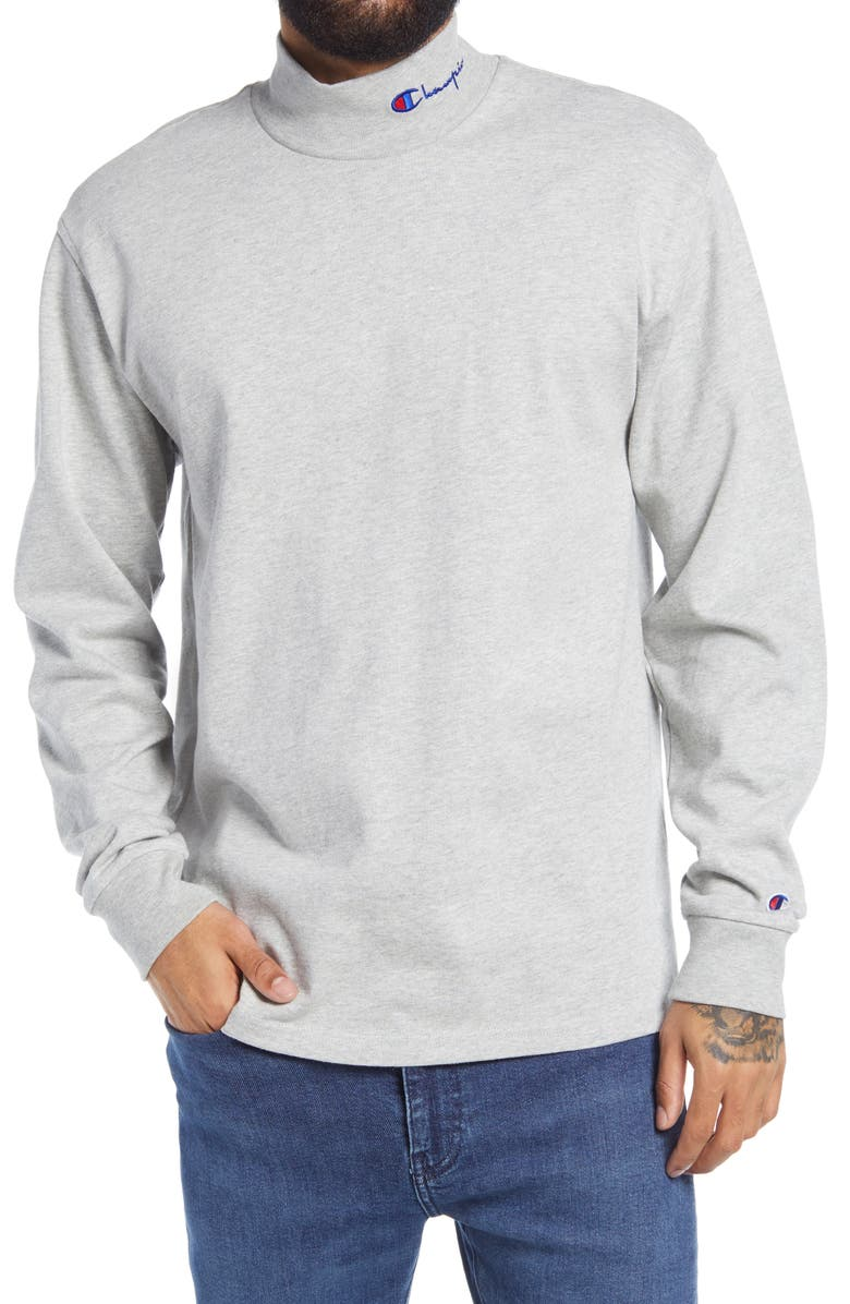 CHAMPION Heavyweight Mock Neck T-Shirt, Main, color, OXFORD GREY