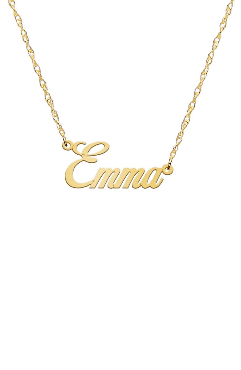 JANE BASCH DESIGNS Personalized Nameplate Necklace, Main, color, 14K YELLOW GOLD