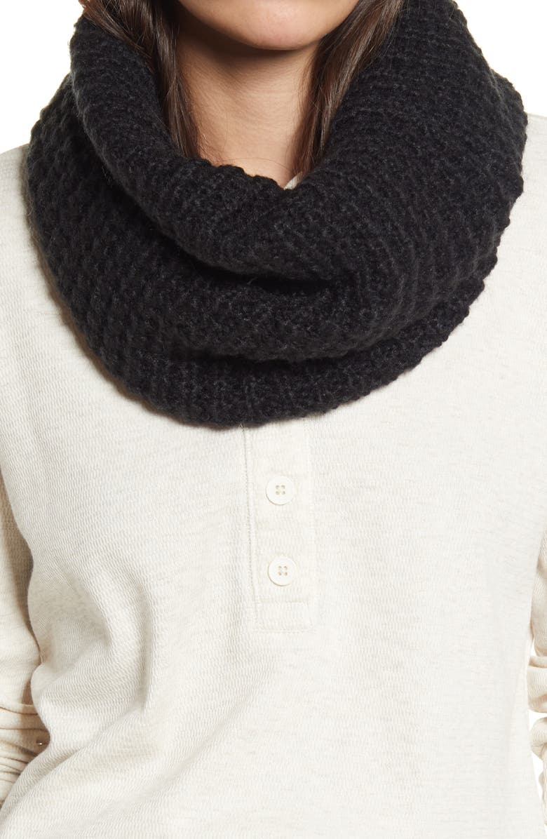 TREASURE & BOND Waffle Stitch Infinity Scarf, Main, color, BLACK