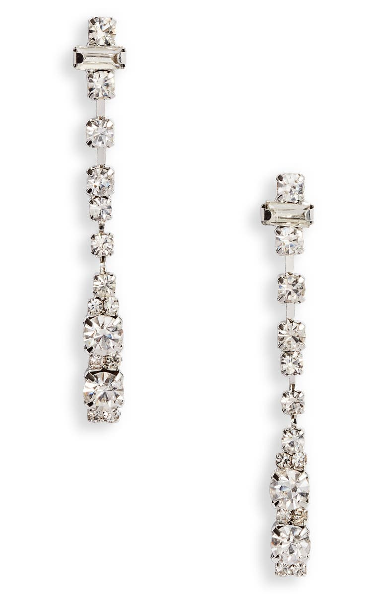 CRISTABELLE Crystal Dot Dash Linear Earrings, Main, color, CRYSTAL/ SILVER