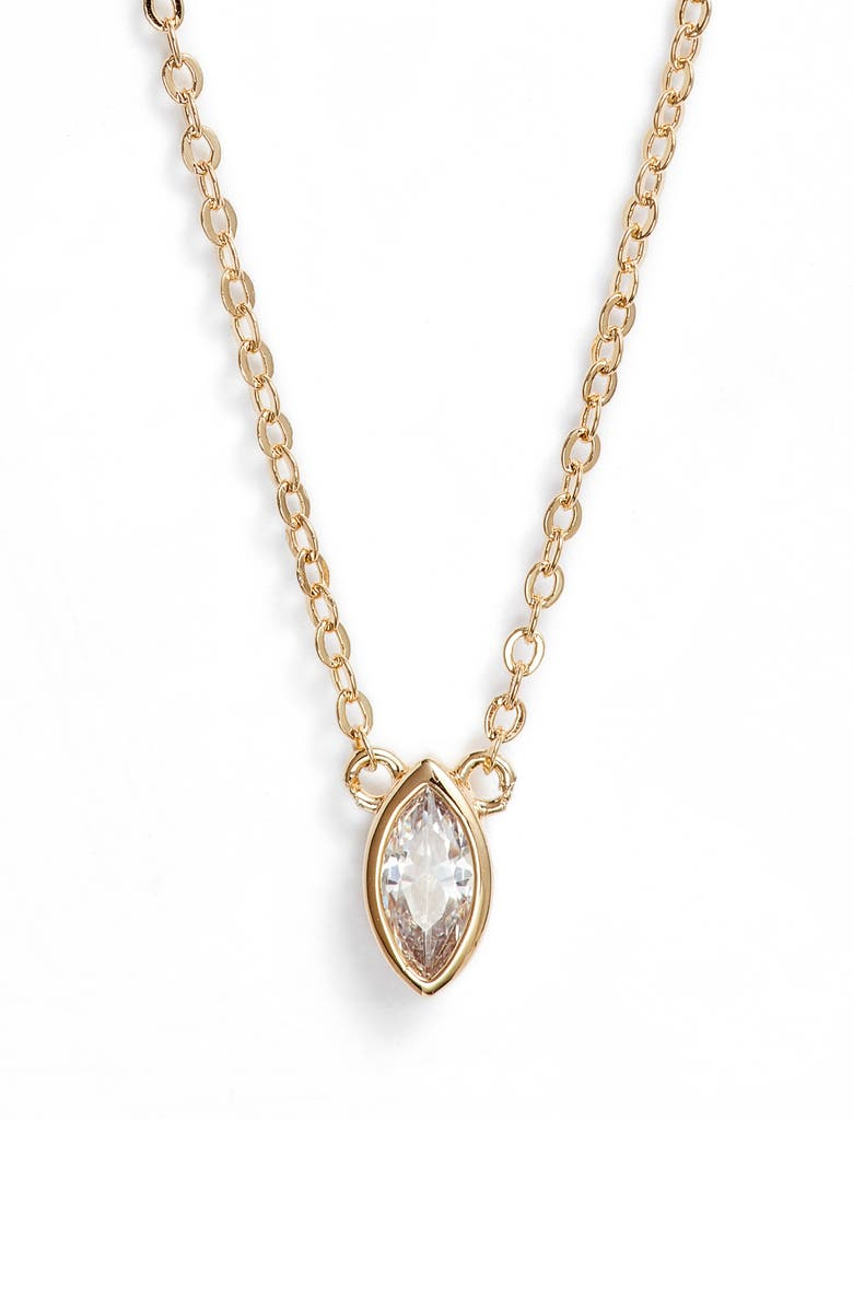 NORDSTROM Marquise Pendant Necklace, Main, color, CLEAR- GOLD
