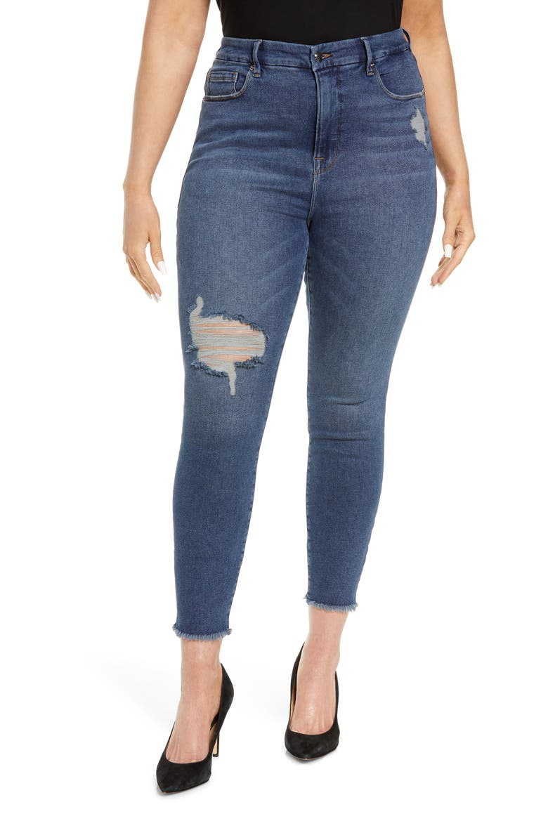 GOOD AMERICAN Good Legs High Rise Ankle Cropped Jeans, Main, color, BLUE521