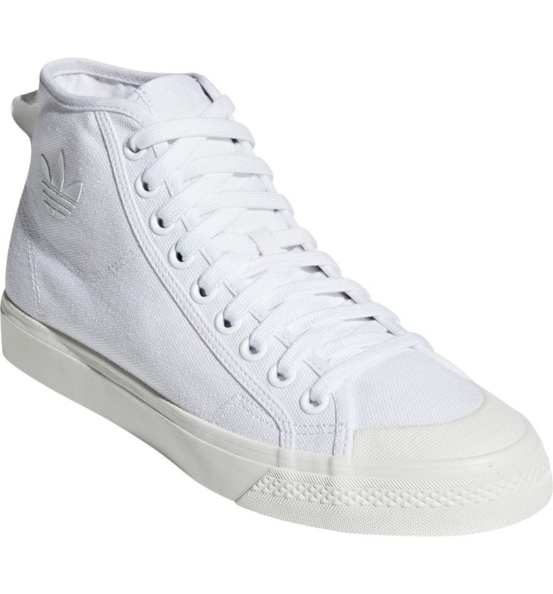 ADIDAS Nizza High Top Sneaker, Main, color, WHITE / WHITE/ OFF WHITE