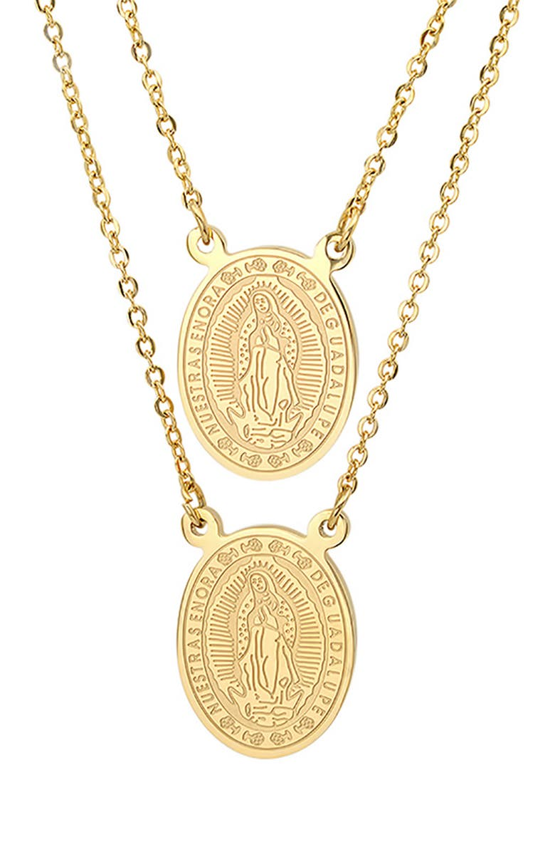 HMY JEWELRY Religious Pendant Necklace Set, Main, color, YELLOW