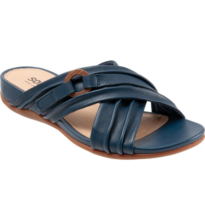 SOFTWALK<SUP>®</SUP> Taza Sandal, Main, color, NAVY LEATHER