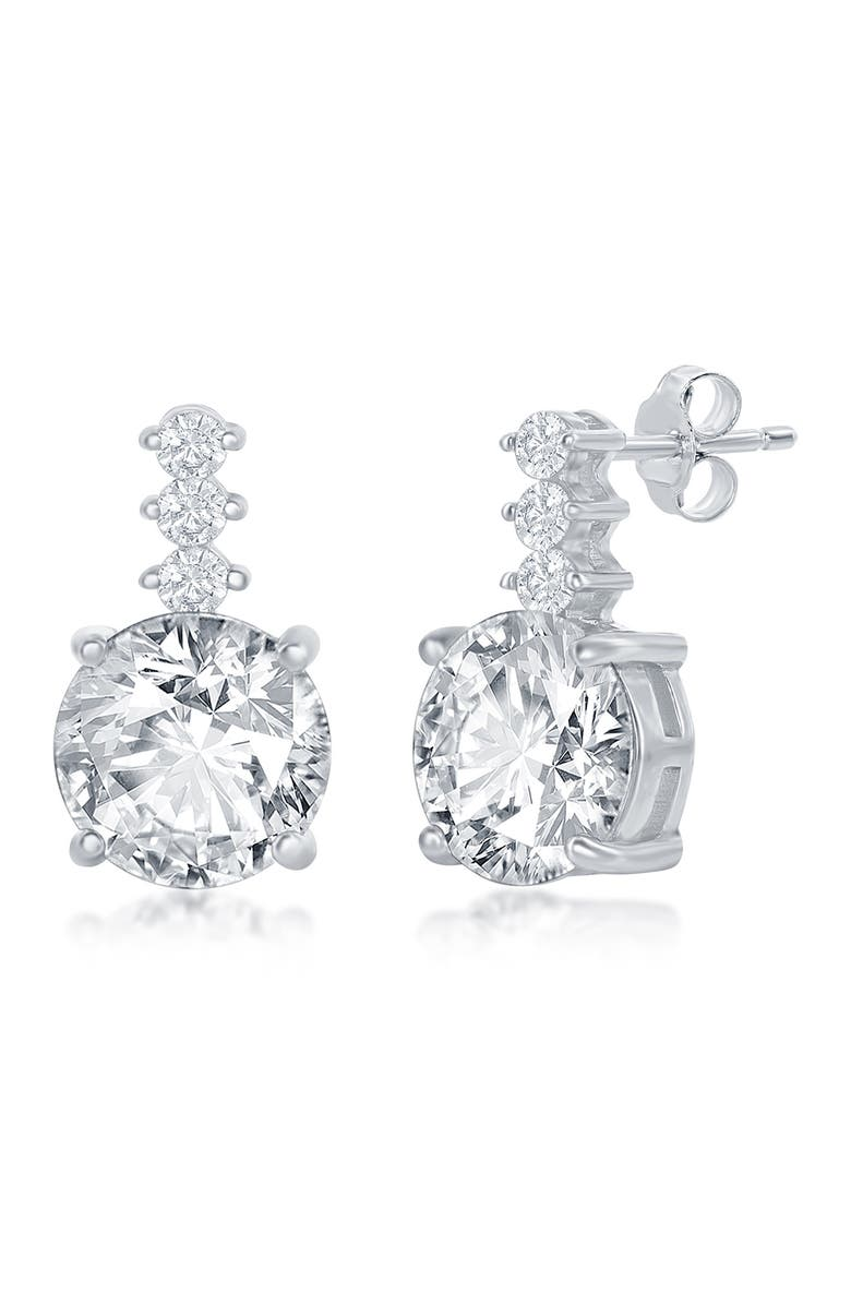 SIMONA Sterling Silver Round CZ with Bar Stud Earrings, Main, color, SILVER