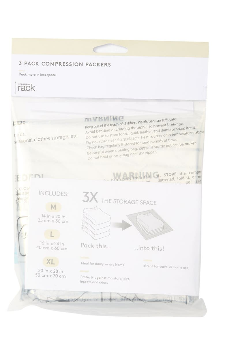 NORDSTROM RACK Compression Packers - Pack of 3, Main, color, CLEAR