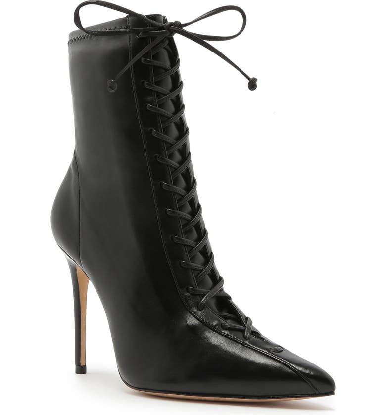 SCHUTZ Tennie Pointed Toe Lace-Up Boot, Main, color, BLACK LEATHER