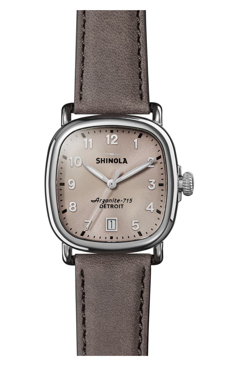 SHINOLA The Guardian Leather Strap Watch, 36mm, Main, color, 020