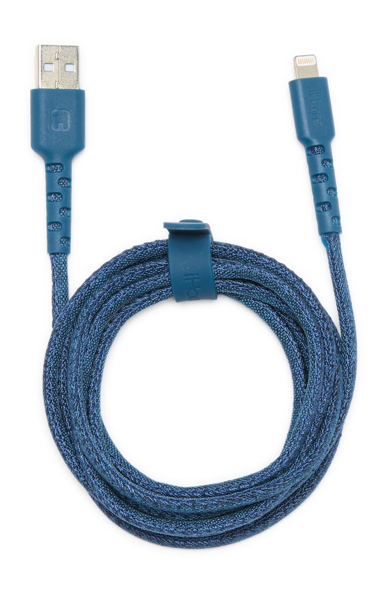 IHOME 6 Ft. Blue Phone Charger, Main, color, BLUE