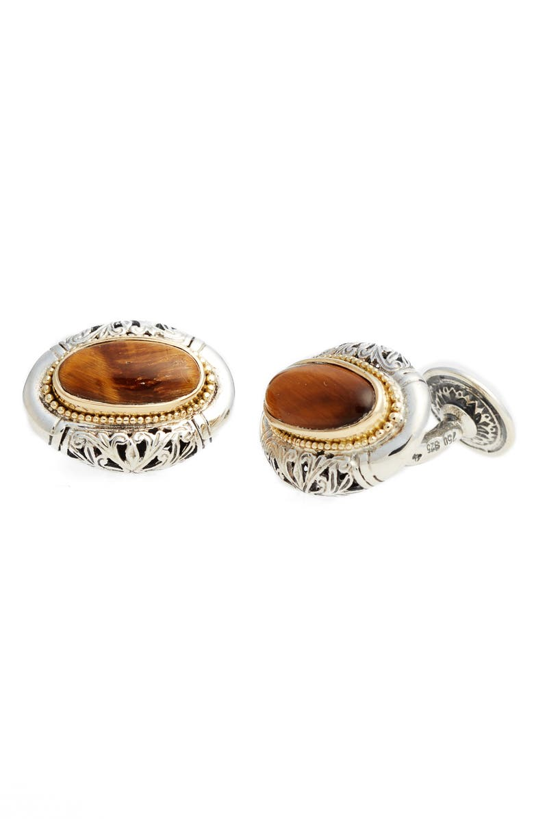 KONSTANTINO Color Classics Oval Cuff Links, Main, color, SILVER/ GOLD/ TIGERS EYE