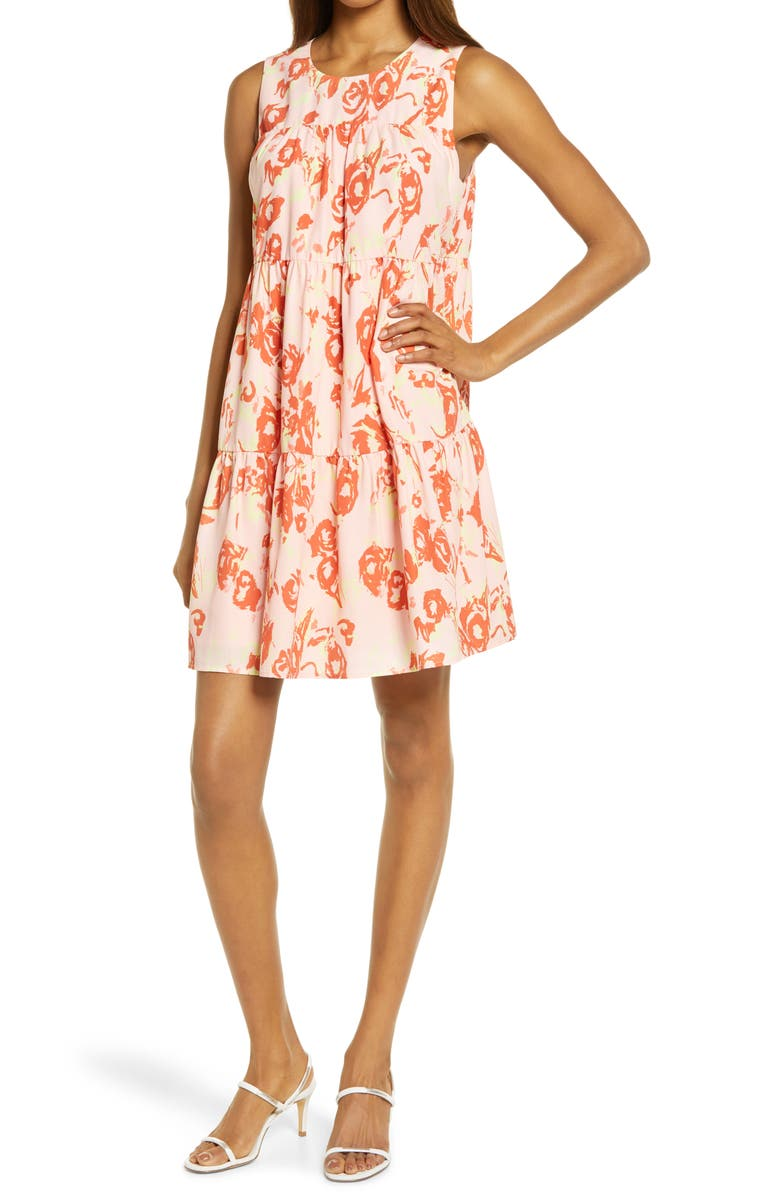 CHELSEA28 Sleeveless Tiered Minidress, Main, color, PINK CREOLE- RED FLORAL