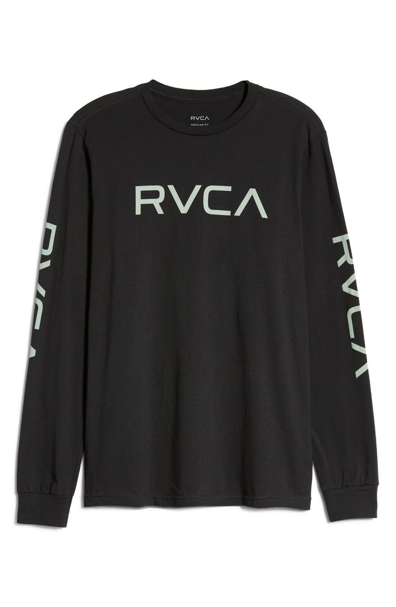 RVCA Big Logo Long Sleeve T-Shirt, Main, color, BLACK/ GREEN