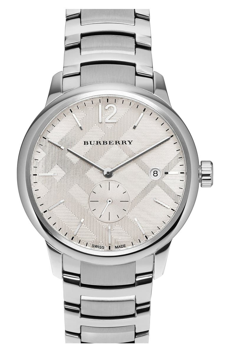 BURBERRY Check Stamped Bracelet Watch,40mm, Main, color, 040
