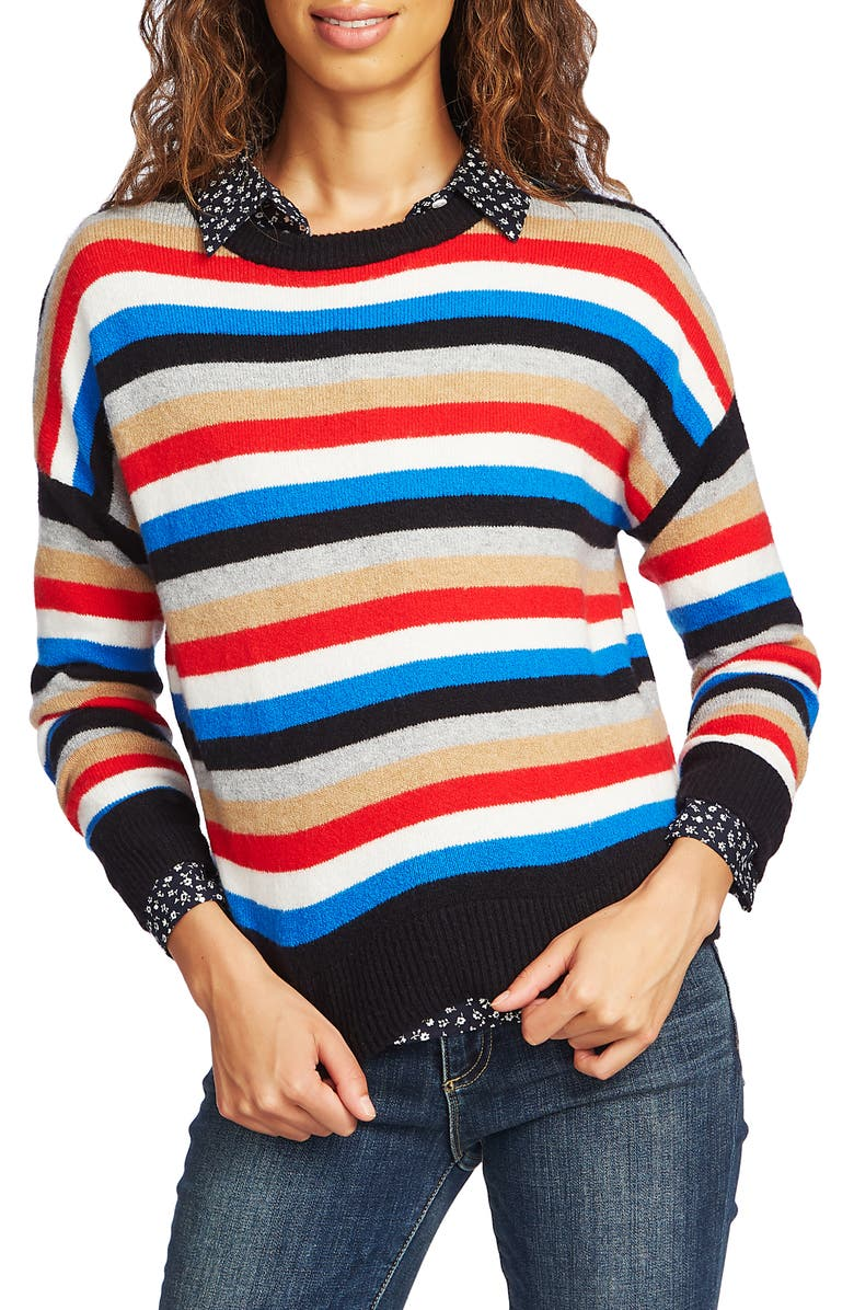 COURT AND ROWE Stripe Crop Sweater, Main, color, 620