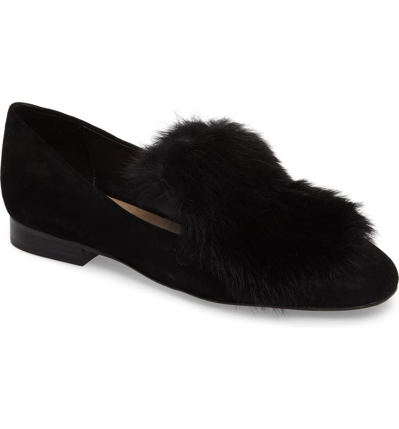 DONALD PLINER Donald J Pliner Lillian Genuine Rabbit Fur Loafer, Main, color, 001