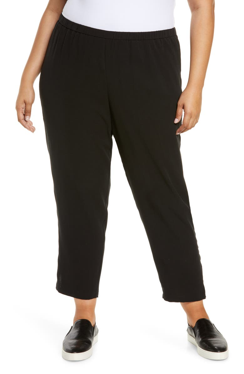 EILEEN FISHER Tapered Pants with Side Slits, Main, color, Black