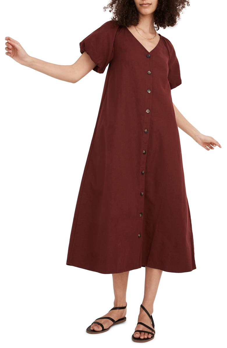 MADEWELL (Re)sponsible Bubble Sleeve Button Front Midi Dress, Main, color, DARK CABERNET