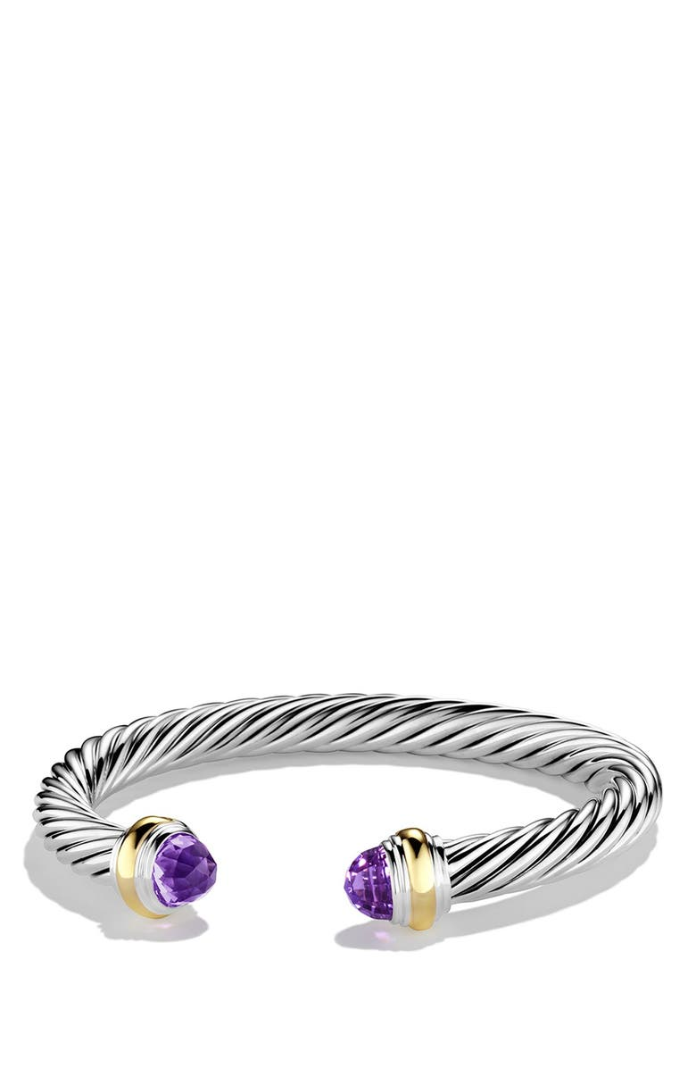 DAVID YURMAN Cable Classics Bracelet with Semiprecious Stones & 14K Gold, 7mm, Main, color, AMETHYST