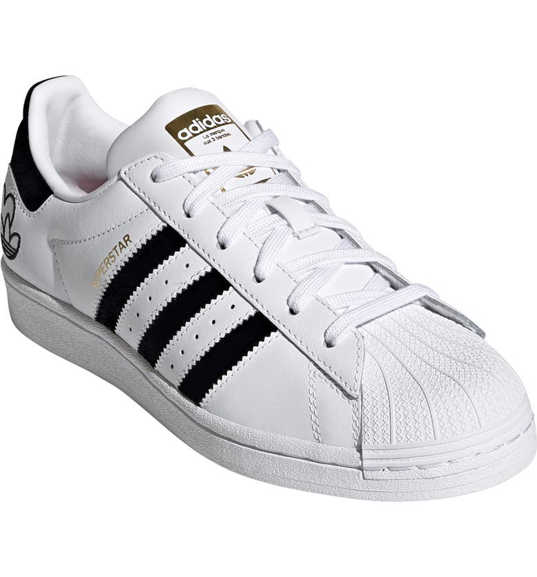 ADIDAS Superstar Embroidered Valentines Sneaker, Main, color, WHITE/ CORE BLACK/ GOLD