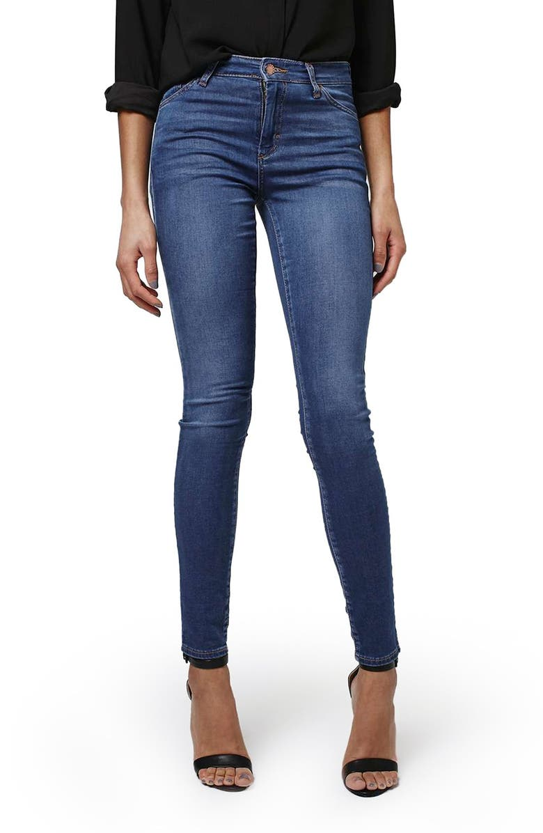 TOPSHOP 'Leigh' Ankle Skinny Jeans, Main, color, Blue