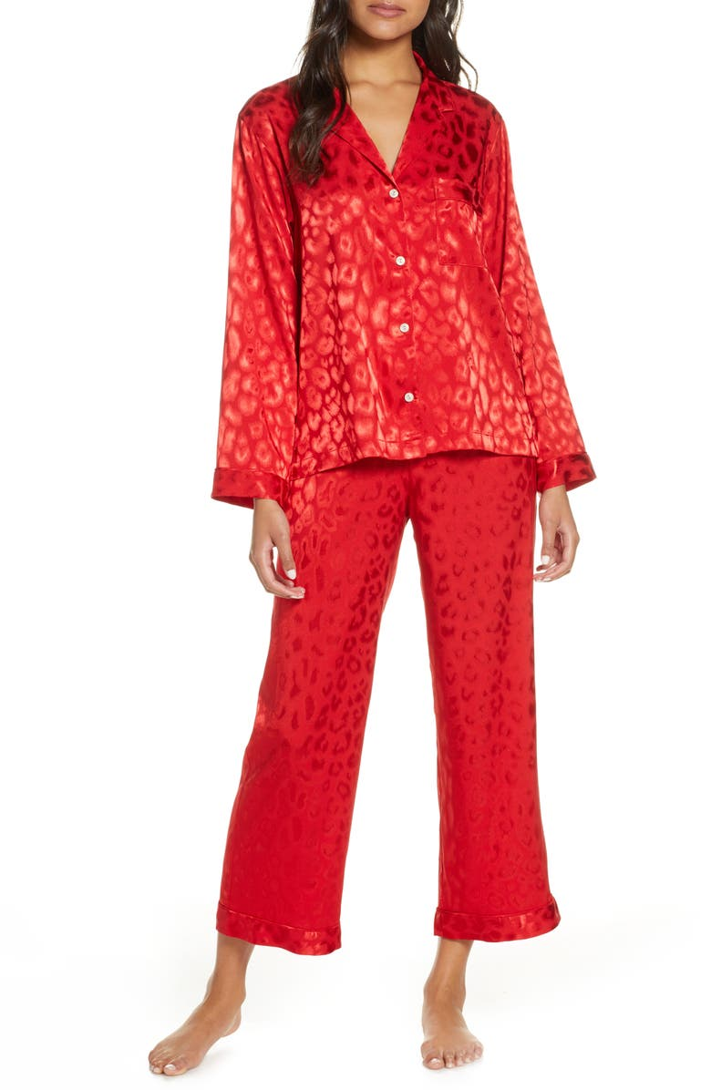 NATORI Satin Pajamas, Main, color, CRIMSON RED