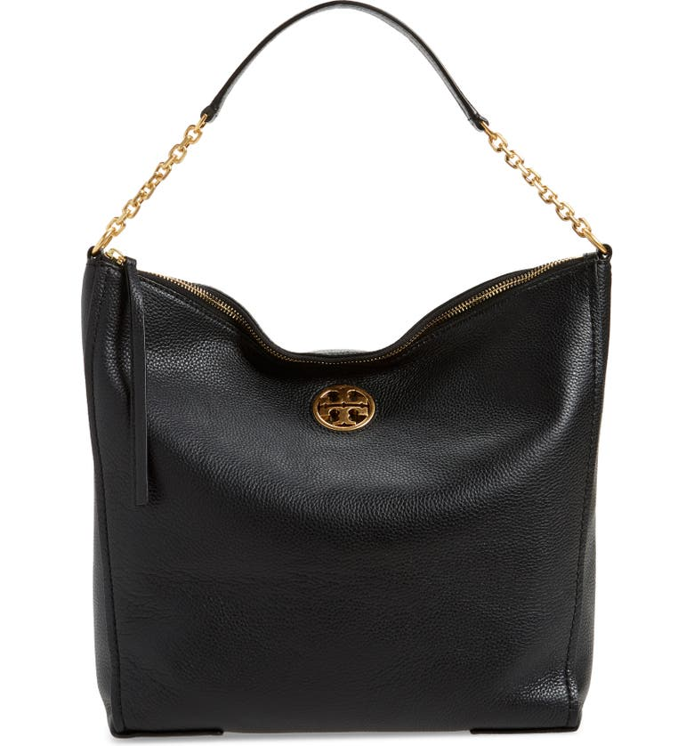 TORY BURCH Carson Top Handle Leather Hobo Bag, Main, color, 001