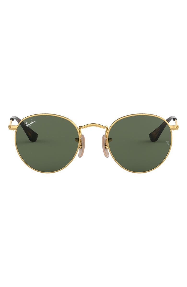 RAY-BAN Junior 44mm Round Sunglasses, Main, color, GOLD/ GREEN SOLID
