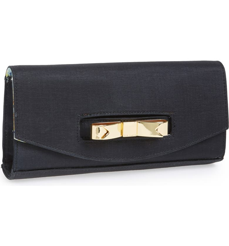 TED BAKER LONDON 'Bow' Flap Clutch, Main, color, Black