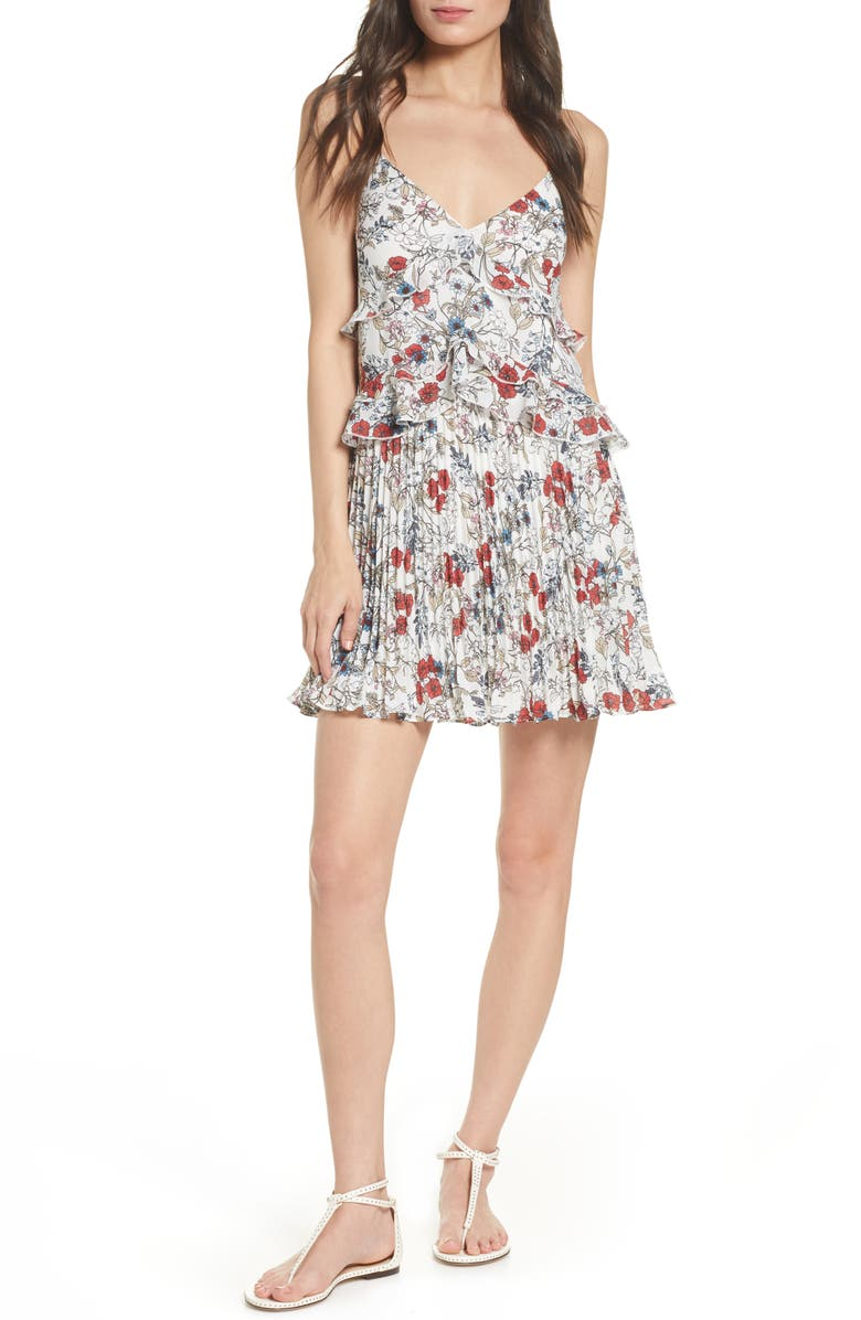 ALI & JAY Samo Floral Ruffle Pleated Minidress, Main, color, 111