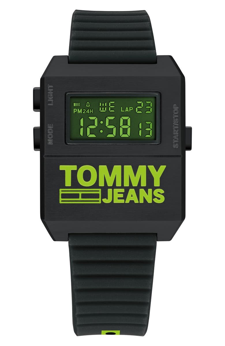TOMMY JEANS Digital Rubber Strap Watch, 32.5mm x 42mm, Main, color, 002
