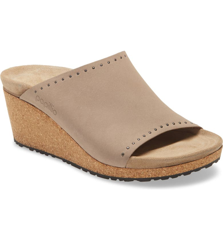 BIRKENSTOCK Papillio by Birkenstock Namica Wedge Slide Sandal, Main, color, BISCUIT NUBUCK LEATHER