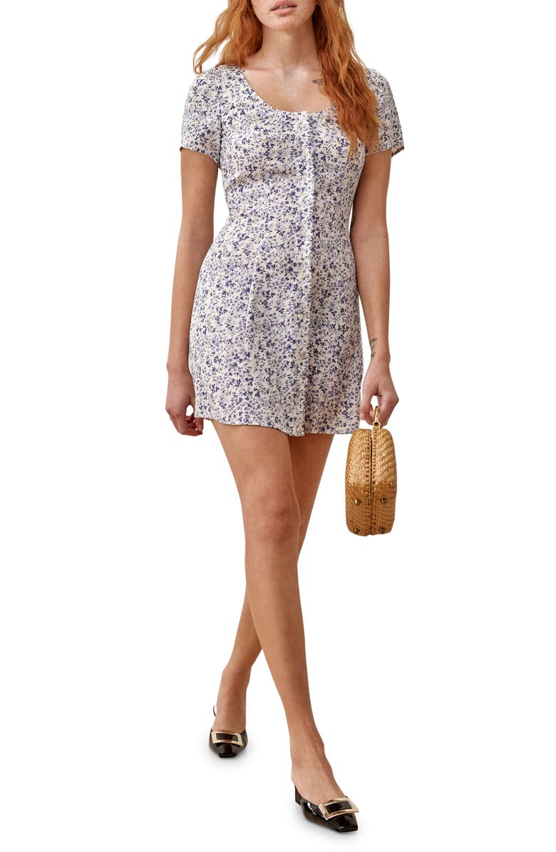 REFORMATION Margeaux Front Button Minidress, Main, color, JOHANNA